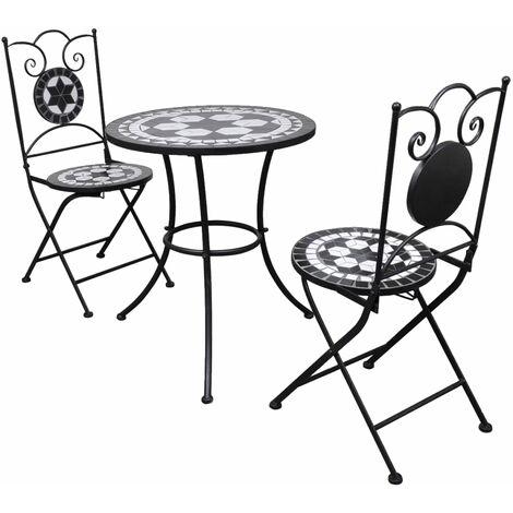 Set de mesa y sillas de jardín 3 piezas mosaico blanco y negro