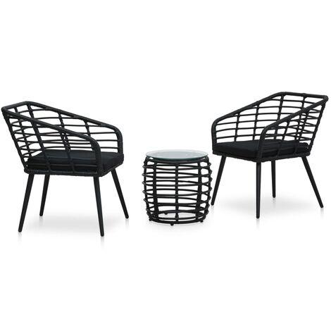 Set de mesa y sillas de jardín 3 piezas ratán sintético negro