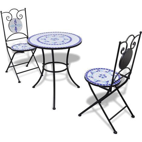 Set de mesa y sillas de jardín 3 pzas con mosaico azul y blanco
