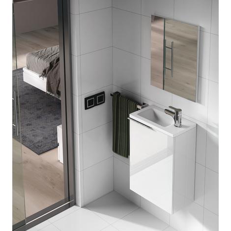 Set de Meuble sous lavabo avec 1 porte laqué blanc + Lavabo résine + miroir -PEGANE-