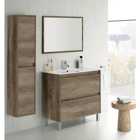 Set de Meuble sous lavabo avec 2 tiroirs + Colonne suspendue 2 portes NORDIK