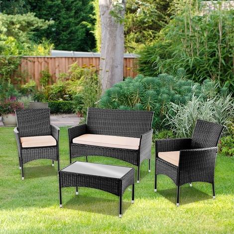 Salon de jardin 4 places - 1 canape + 2 fauteuils + 1 table ...