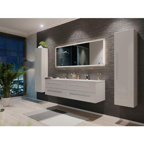 Set de mueble de baño Colossos 160 4 Partes con espejo-LED Blanco intenso