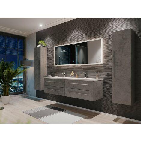Set de mueble de baño Colossos 160 4 Partes con espejo-LED Gris hormigón