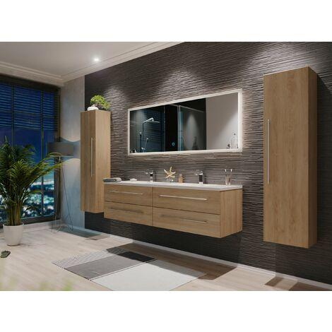 Set de mueble de baño Colossos 160 4 Partes con espejo-LED Roble claro