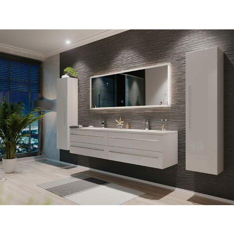 Set de mueble de baño Colossos 180 4 Partes con espejo-LED Blanco brillante