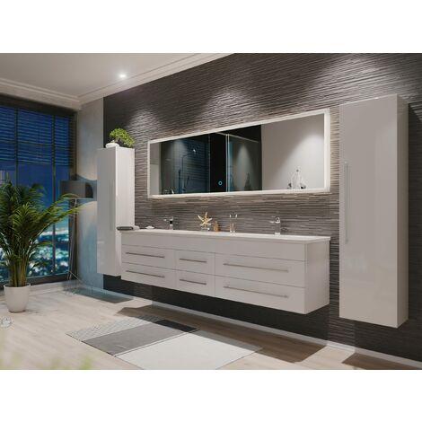 Set de mueble de baño Colossos 200 4 Partes con espejo-LED Blanco brillante