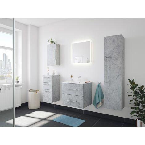 Set de mueble de baño Firenze 60 (5 part./B) Roble claro incl. Espejo-LED