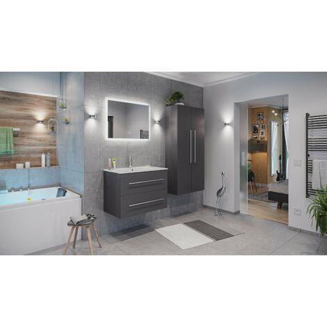 Set de mueble de baño Firenze 80 (4 part./B) Antracita satinado incl. Espejo-LED
