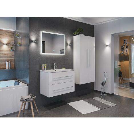 Set de mueble de baño Firenze 80 (4 part./B) Blanco brillante incl. Espejo-LED