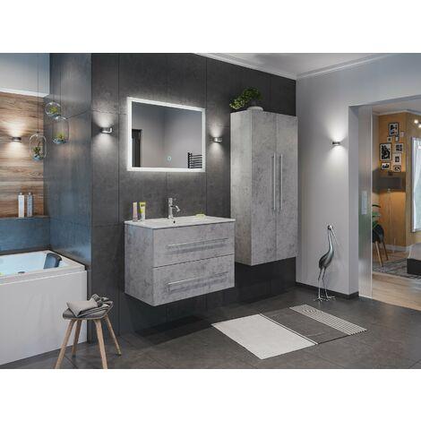 Set de mueble de baño Firenze 80 (4 part./B) Gris hormigón incl. Espejo-LED