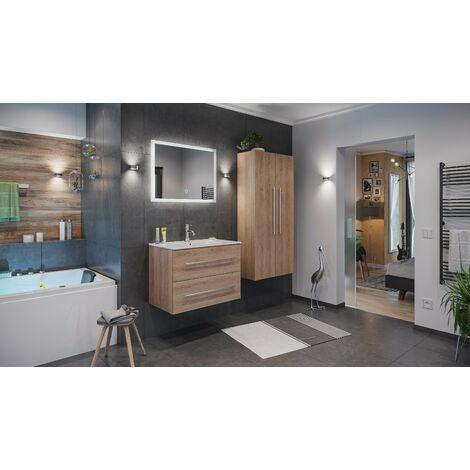 Set de mueble de baño Firenze 80 (4 part./B) Roble claro incl. Espejo-LED