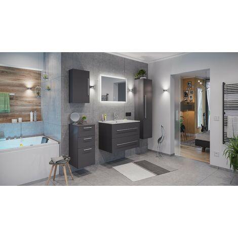 Set de mueble de baño Firenze 80 (5 part./B) Antracita satinado incl. Espejo-LED