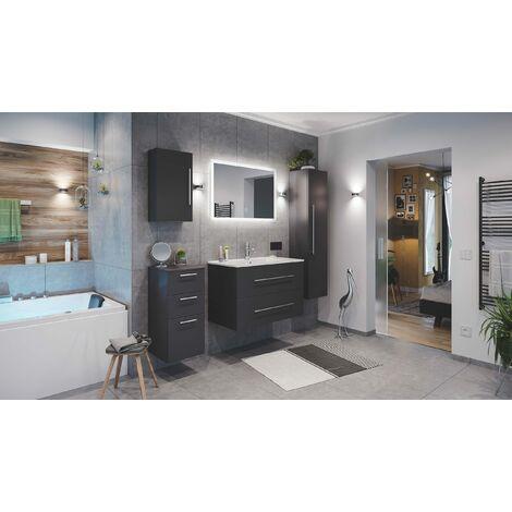 Set de mueble de baño Firenze 90 (5 part./B) Antracita satinado incl. Espejo-LED