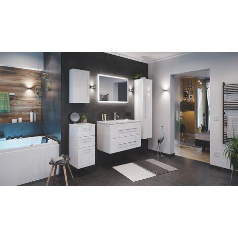 Set de mueble de baño Firenze 90 (5 part./B) Blanco brillante incl. Espejo-LED