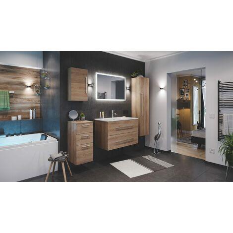 Set de mueble de baño Firenze 90 (5 part./B) Roble claro incl. Espejo-LED