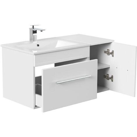 Set de mueble de baño Fortuna Blanco brillante