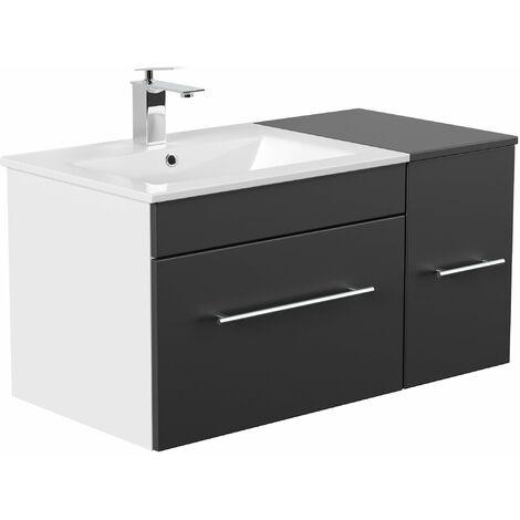 Set de mueble de baño Fortuna Negro satinado