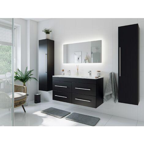 Set de mueble de baño Helios Negro satinado con Espejo-LED Función táctil