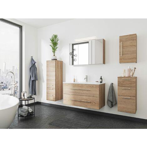 Set de mueble de baño OPTIMO 100cm (5 partes) Roble claro