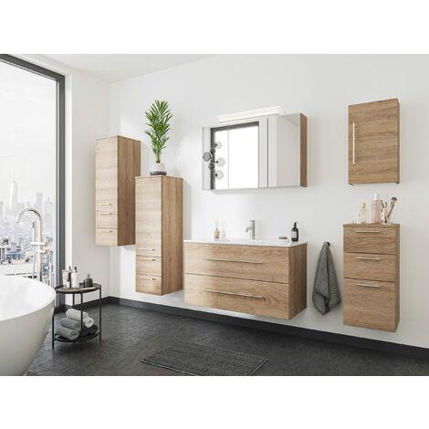 Set de mueble de baño OPTIMO 100cm (6 partes) Roble claro