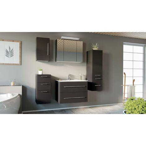 Set de mueble de baño OPTIMO 80cm (5 partes) Antracita satinado