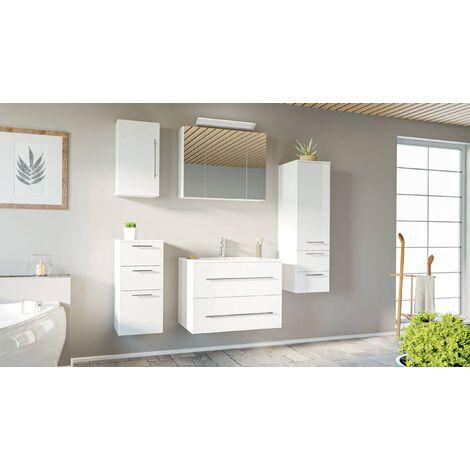 Set de mueble de baño OPTIMO 80cm (5 partes) Blanco brillante