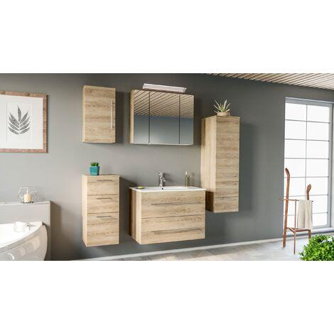 Set de mueble de baño OPTIMO 80cm (5 partes) Roble claro