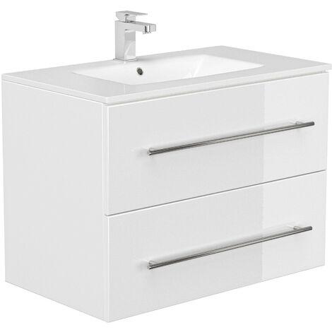 Set de mueble de baño OPTIMO 80cm (6 partes) Blanco brillante