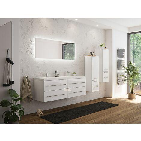 Set de mueble de baño Persepolis XL Blanco brillo 2 mueble auxiliar Espejo-LED