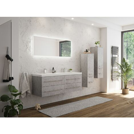 Set de mueble de baño Persepolis XL Gris hormigón 2 mueble auxiliar Espejo-LED