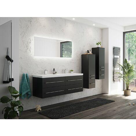Set de mueble de baño Persepolis XL Negro sedoso 2 mueble auxiliar Espejo-LED