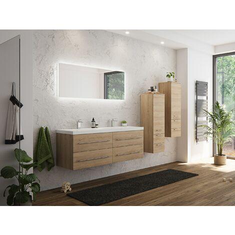 Set de mueble de baño Persepolis XL Roble claro 2 mueble auxiliar Espejo-LED
