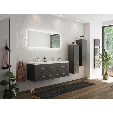 Set de mueble de baño PersepolisXL Antracita satin. 2 mueble auxiliar Espejo-LED