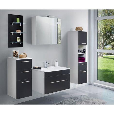 Set de mueble de baño SANTINI 75 5 Partes Negro satinado