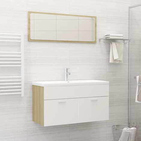Set de muebles de baño 2 piezas aglomerado blanco roble Sonoma - Beige