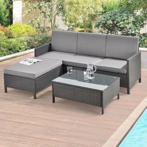 Set de muebles de jardín - 3-piezas - Conjunto de muebles de Exterior - Sillón - Sofá - Mesa de centro - Sofá gris oscuro - Cojín gris claro