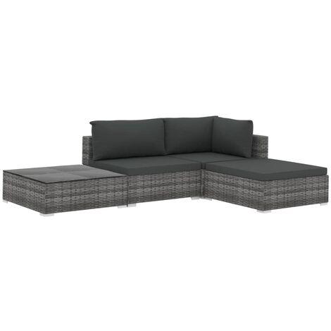 Set de muebles de jardín 4 pzas y cojines ratán sintético gris