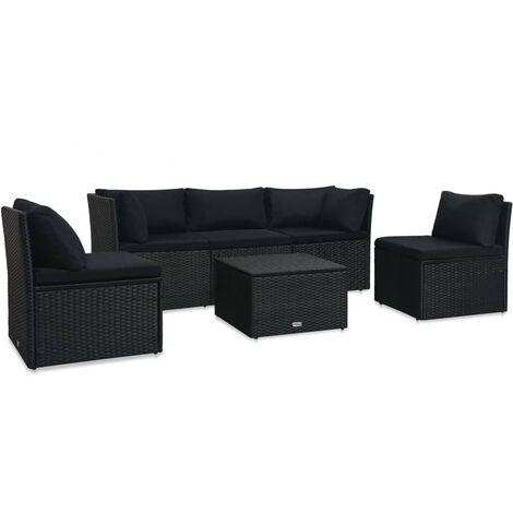 Set de muebles de jardín 4 pzas y cojines ratán sintético negro