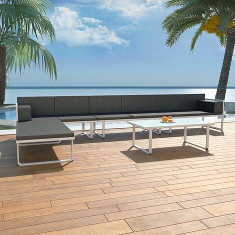 Set de muebles de jardín 5 piezas textilene aluminio negro - Negro