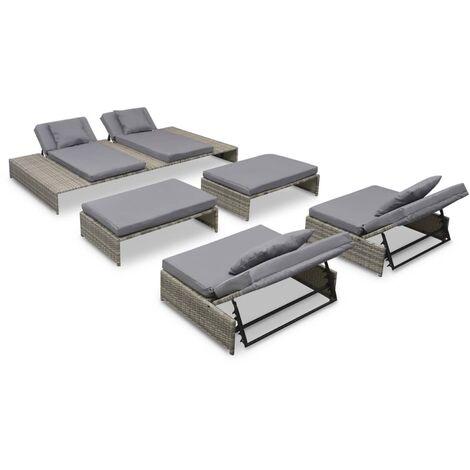 Set de muebles de jardín 5 pzas y cojines ratán sintético gris