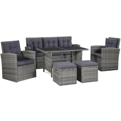 Set de muebles de jardín 6 pzas y cojines ratán sintético gris