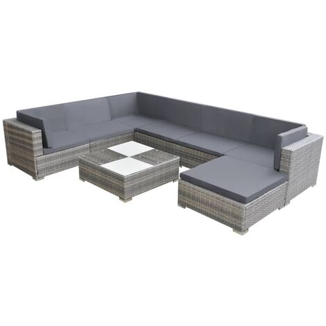 Set de muebles de jardín 8 pzas y cojines ratán sintético gris