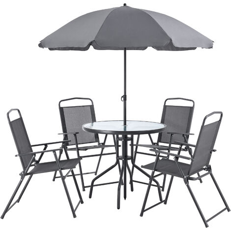 """main image of """"Set de Muebles de Jardín Milagro - para 4 Personas - Conjunto de Muebles de Exterior con Sombrilla - Terraza - Patio - Set de 4 Sillas - Mesa - Protección Sol - Negro y Gris oscuro"""""""