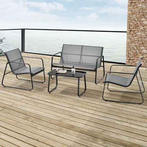 Set de Muebles de Jardín Palencia - 4-Piezas - Conjunto de Muebles de Exterior - Terraza - Patio - Set de 2 Sillas - Banco - Mesa de Centro - Gris claro y Tablero de Mesa Negro