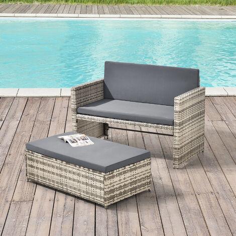 Set de Muebles de Jardín Segovia - 40 x 100 x 55 cm - para 2 Personas - Sofá con mesa Auxiliar para Exteriores - Polyrattan - Mueble para Terraza - Beige Marrón y Gris medio