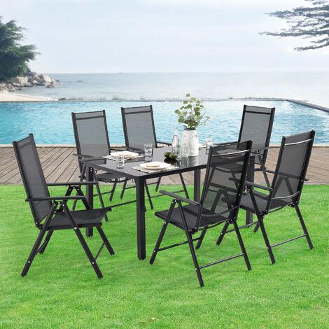 Set de Muebles de Jardín Soria - 7-Piezas - Conjunto de Muebles de Exterior - Terraza - Patio - Balcón - Set de 6x Sillas Plegables - Respaldo ajustable - Mesa de Jardín - Gris oscuro