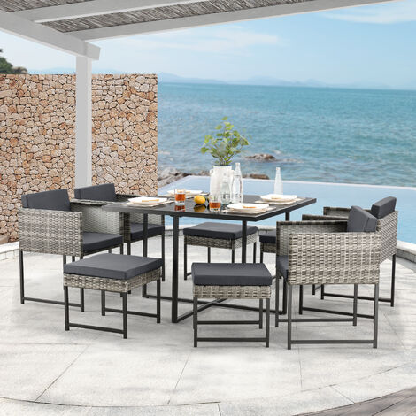 Set de Muebles de Jardín Tarragona - para 8 Personas - Conjunto de Muebles de Exterior con Cojines - Terraza - Patio - Set de 4 Sillones y 4 Pufs - Mesa - Polyrattan - Gris meler