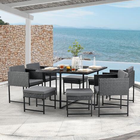 Set de Muebles de Jardín Tarragona - para 8 Personas - Conjunto de Muebles de Exterior con Cojines - Terraza - Patio - Set de 4 Sillones y 4 Pufs - Mesa - Polyrattan - Gris oscuro