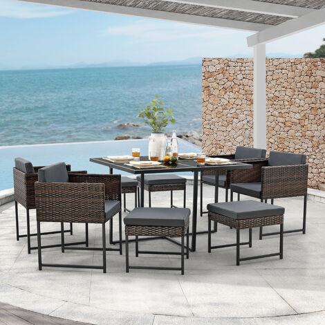 Set de Muebles de Jardín Tarragona - para 8 Personas - Conjunto de Muebles de Exterior con Cojines - Terraza - Patio - Set de 4 Sillones y 4 Pufs - Mesa - Polyrattan - Marrón meler